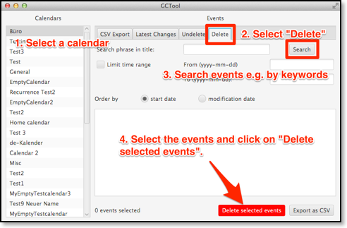 how to delete duplicated ical event